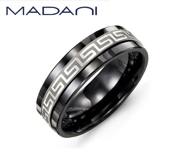 Jonc homme madani en céramique noire et or 10k blanc à motif