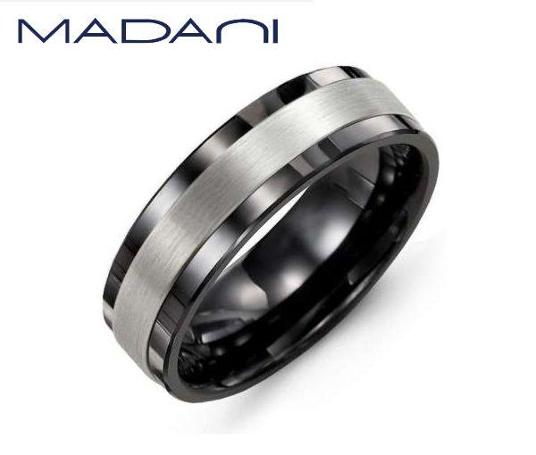 Jonc homme madani en céramique noire et or 10k blanc