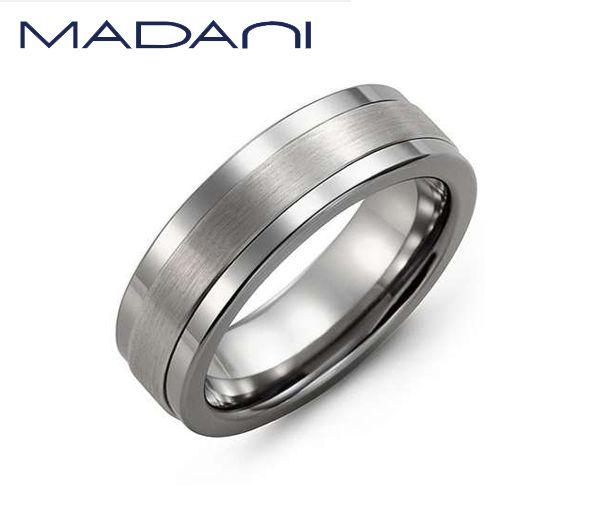 Jonc madani pour homme en tungsten et or blanc 10k