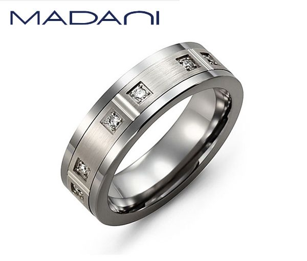 Jonc homme madani tungstène et or 10k blanc serti de 6 diamants