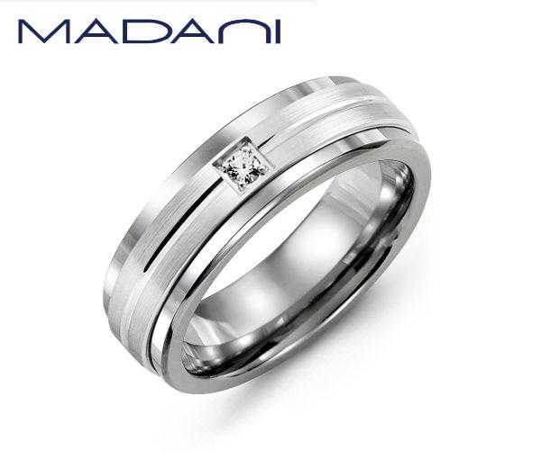 Jonc homme madani en cobalt et or 10k blanc serti d'un diamant