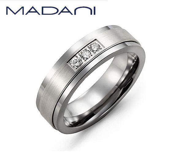 Jonc homme madani en tungstène et or 10k blanc serti de 7 diamants