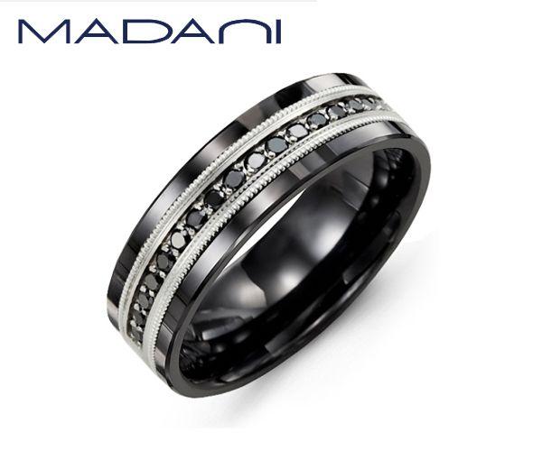 Jonc homme madani en céramique noire et or 10k blanc serti de 17 diamants noirs