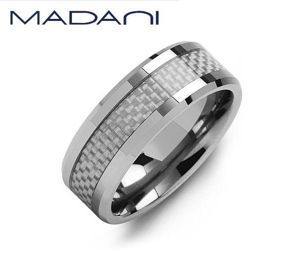 Jonc madani pour homme en tungsten et fibre de carbone
