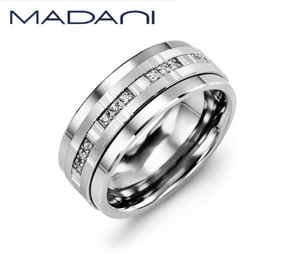 Jonc homme madani en cobalt et or 10k blanc serti de 12 diamants