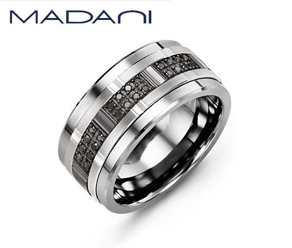 Jonc homme madani en tungstène et or 10k blanc et noir serti de 24 diamants noirs