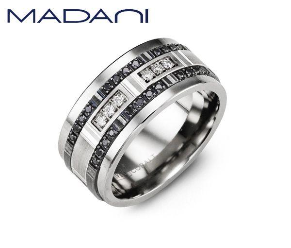 Jonc homme madani en tungstène et or 10k blanc et noir serti de 34 diamants noirs et blancs