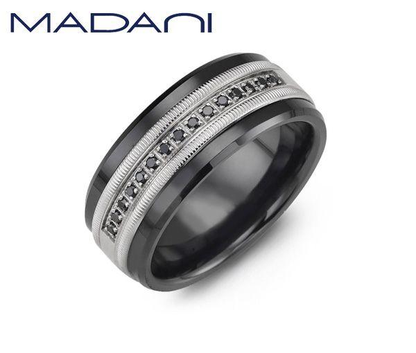 Jonc madani pour homme en céramique noire et or blanc 10k serti de 15 diamants noirs
