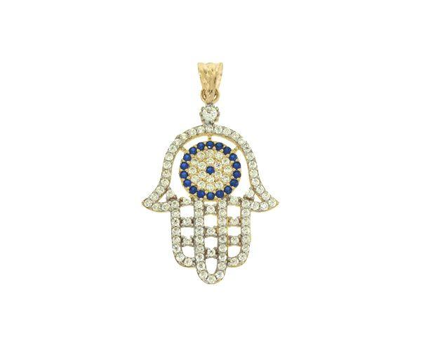 Magnifique pendentif main de fatima pour dame en or 10k serti de cubiques zirconias blancs et bleus