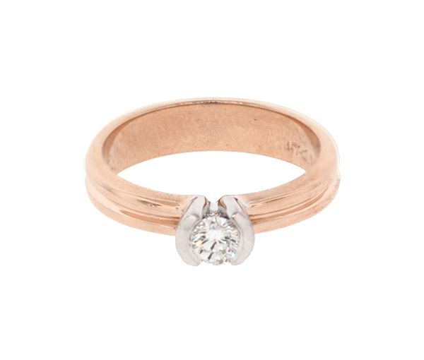 Bague dame style solitaire or 14k 2 tons rose sertie d'un diamant