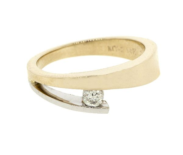 Bague dame solitaire or 14k 2 tons sertie d'un diamant