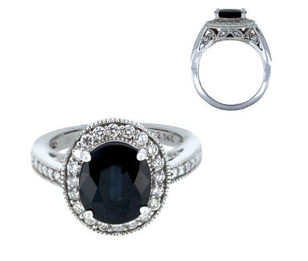 Bague 14k 3,20 saphir+45=0,54 diamant si