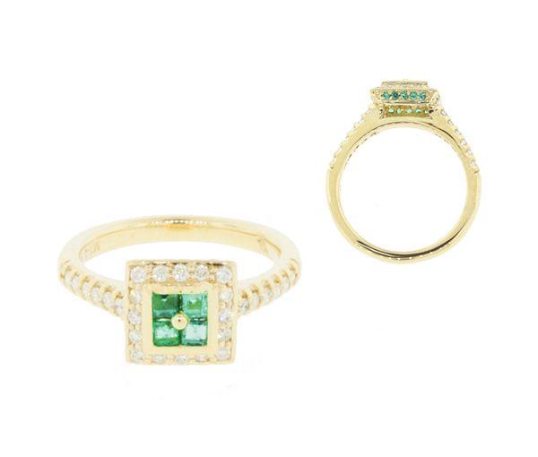 Magnifique bague pour dame en or 14k sertie de diamants et d'émeraudes
