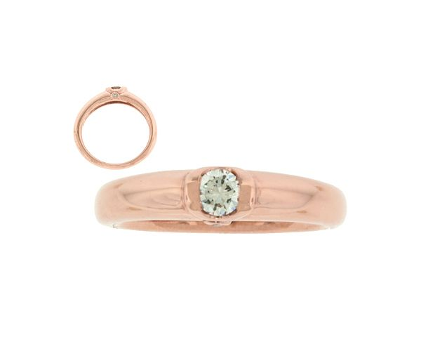 Bague dame or 14k 2 tons sertie de 2 diamants