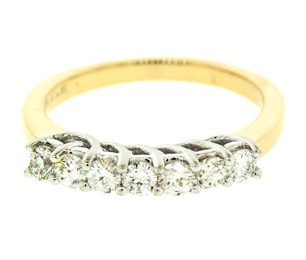 Superbe jonc semi-éternité pour dame en or 14k 2 tons serti de diamants