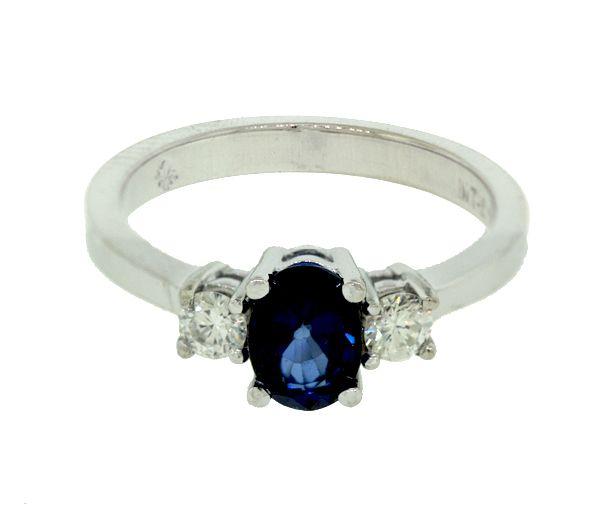 Bague 10k bl.1,00 saphir 2=0,24 diamant