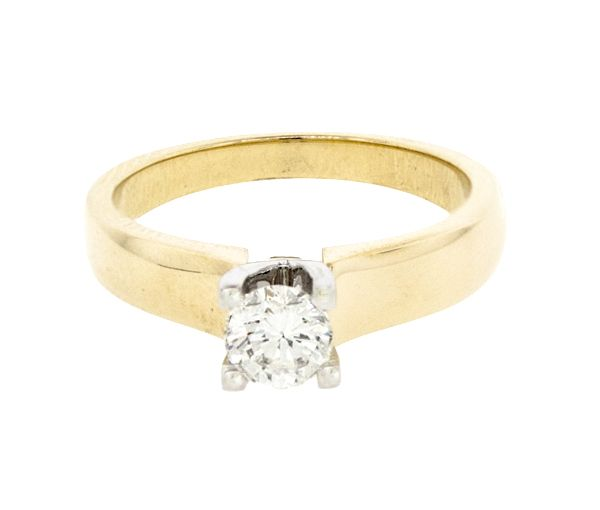 Bague dame style solitaire or 14k 2 tons sertie d'un diamant