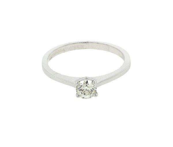 Bague dame solitaire or 14k blanc sertie d'un diamant