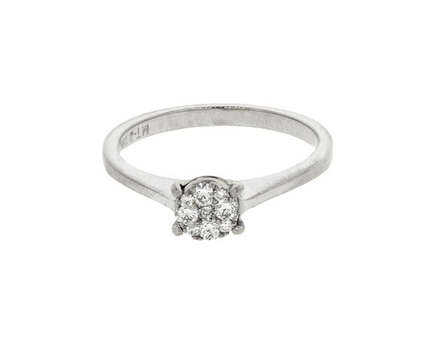 Bague dame en or 14-18k blanc sertie de 9 diamants