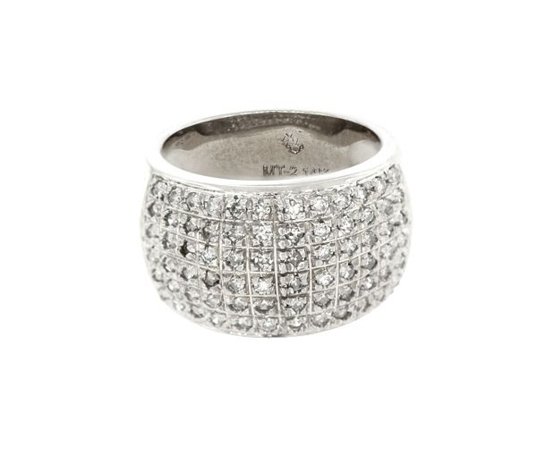 Jonc dame en or 14k blanc serti de 72 diamants