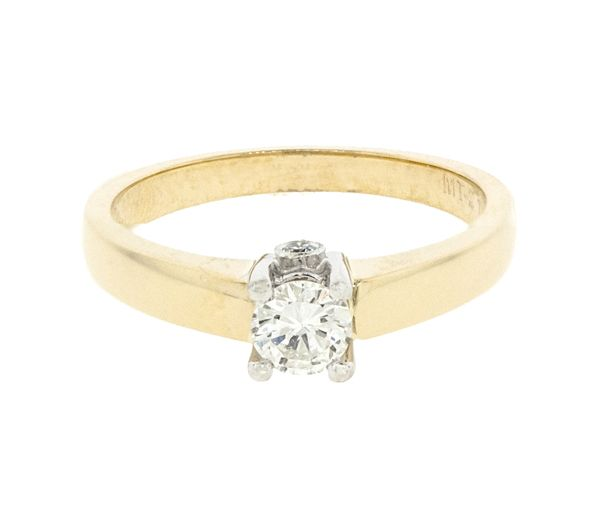 Bague dame style solitaire or 14k 2 tons sertie de 3 diamants