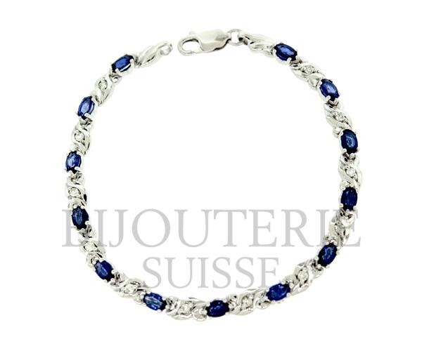 Bracelet tennis 10k blanc 13=3.60 saphir 12=0,25 diamant