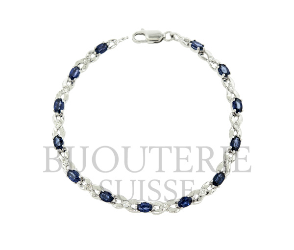 Bracelet tennis 14k blanc 13=3.50 saphir 12=0,35 diamant