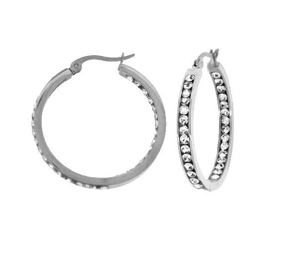 Boucles anneaux acier cz 25mm