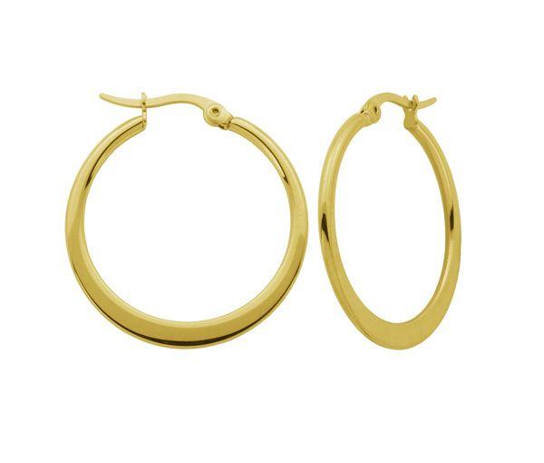 Boucles anneaux acier pvd or uni 34mm