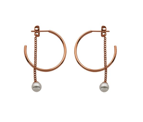 Boucles acier/rose +perle synth.6mm