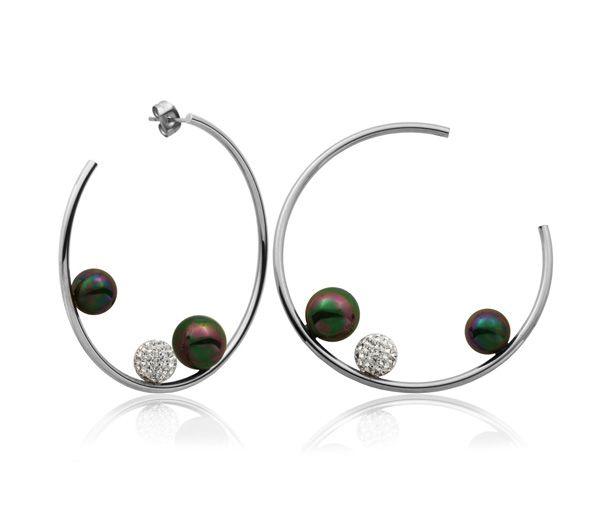 Boucles acier perles synthétiques+cz