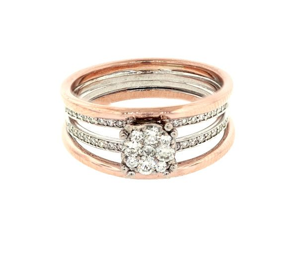 Bague dame en or 14k 2 tons sertie de 41 diamants