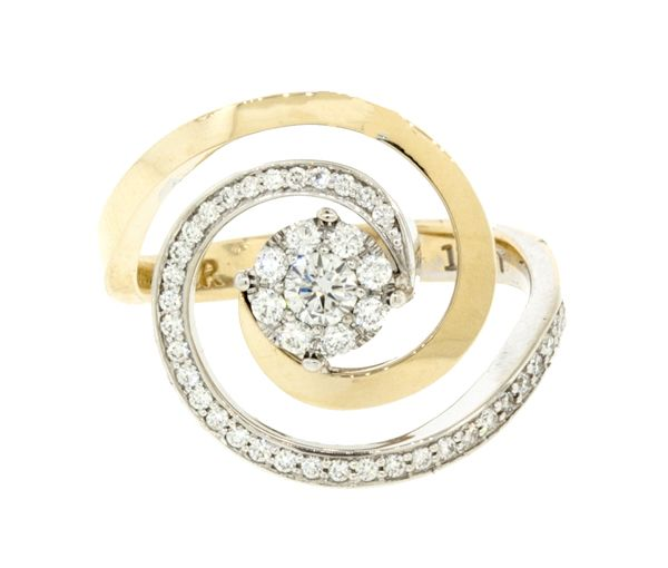 Bague dame en or 14k 2 tons sertie 43 diamants