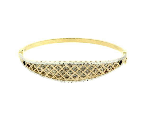 Bracelet 10k 2t bangle t.diamant 11.8mm