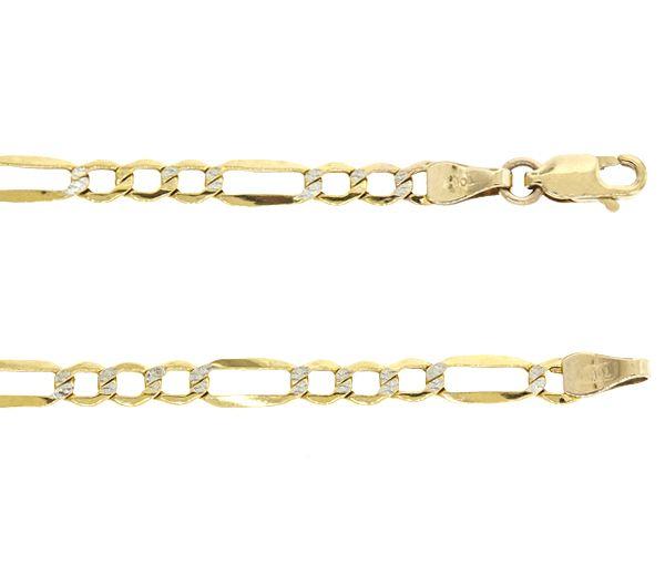 Bracelet 10k 2t taille diamant figaro