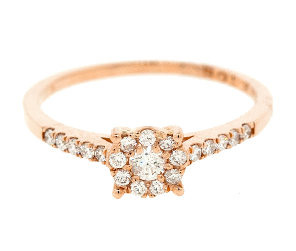 Bague dame or 14k rose sertie de 20 diamants