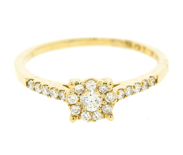 Bague dame or 14k jaune sertie de 20 diamants