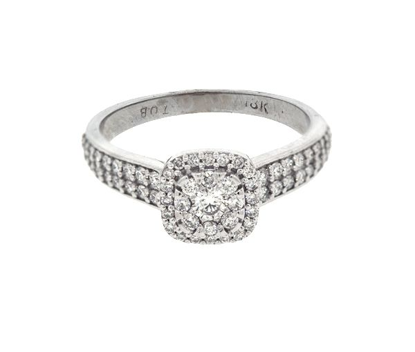 Bague dame or 18k blanc sertie de 65 diamants
