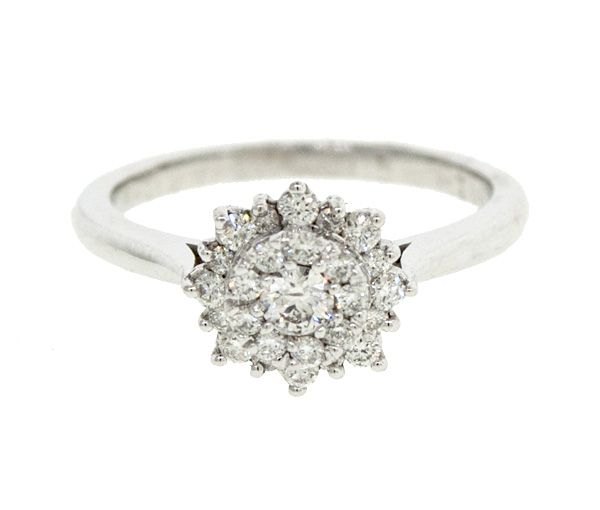 Bague dame or 14k blanc sertie de 26 diamants