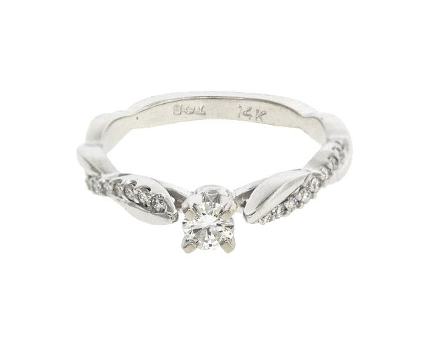 Bague dame en or 14k blanc sertie de 19 diamants