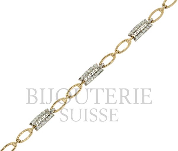 Bracelet dame 10k 2 ton cz versace 7''