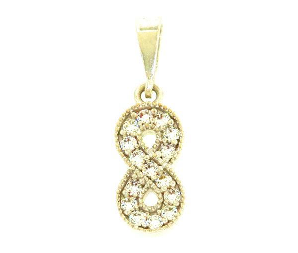 Adorable pendentif amour infini pour dame en or 10k serti de cubiques zirconias