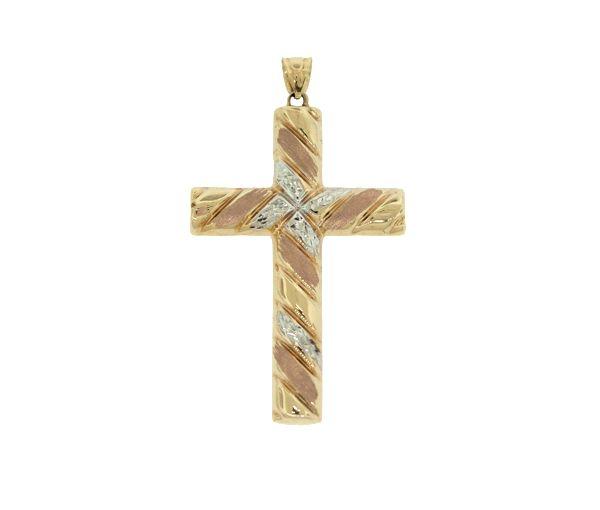 Pendentif 10k 3t croix reversible