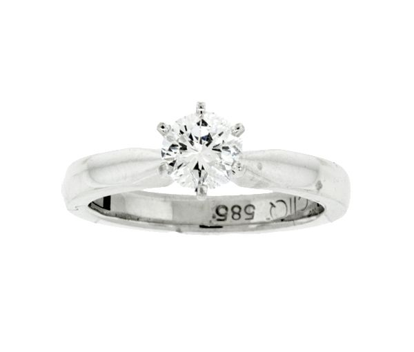 Bague dame superfit or 14k blanc sertie d'un cubique zirconia