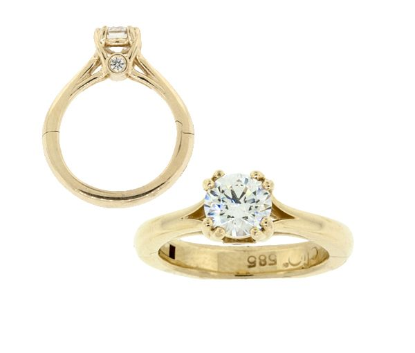 Bague dame superfit or 14k sertie de 2 diamants et d'un cubique zirconia