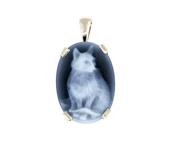 Joli pendentif chat pour dame en or 10k blanc serti d'une agate bleue