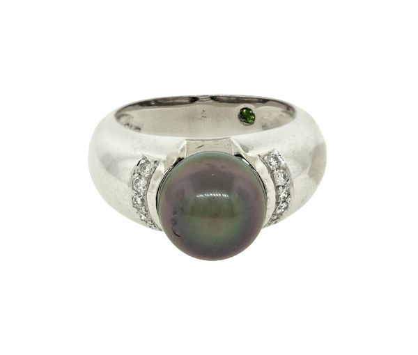 Bague 18k p.tahiti+ 10=0,15 diamant si1