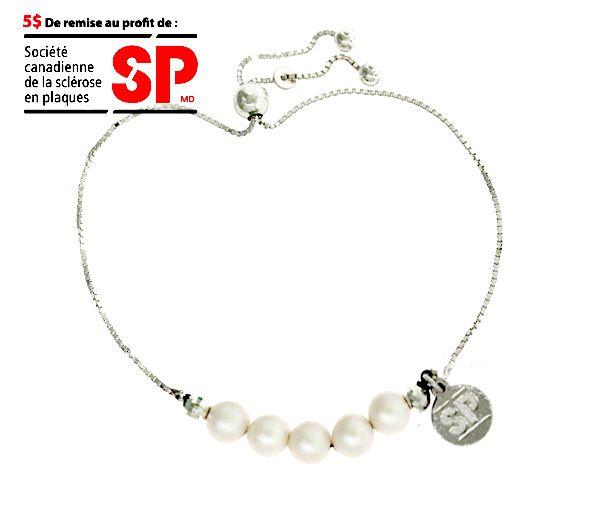 Bracelet fondation sp en argent avec perles synthétiques blanches