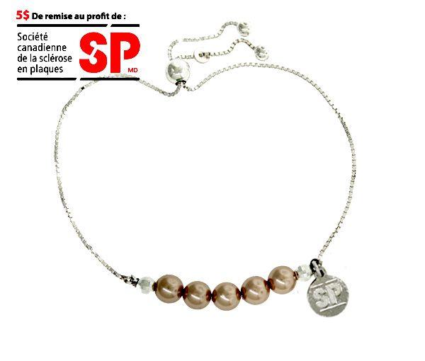 Bracelet fondation sp en argent avec perles synthétiques rose cuivrées