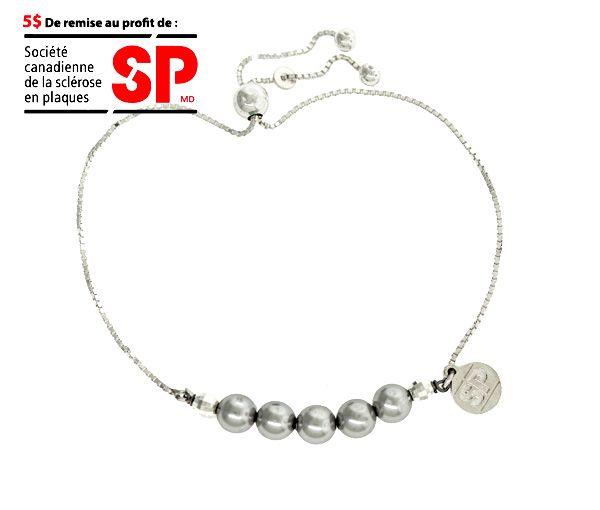 Bracelet fondation sp en argent avec perles synthétiques grises
